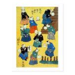 猫の曲芸師, acróbata de los gatos, Kuniyoshi, Ukiyo-e d Postal