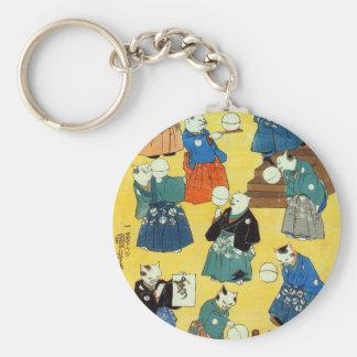 猫の曲芸師, acróbata de los gatos, Kuniyoshi, Ukiyo-e Llavero Redondo Tipo Pin