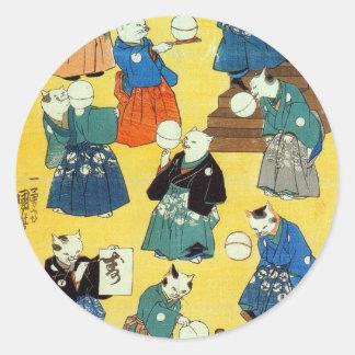 猫の曲芸師, acróbata de los gatos, Kuniyoshi, Ukiyo-e Pegatina Redonda
