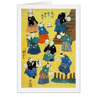 猫の曲芸師, acróbata de los gatos, Kuniyoshi, Ukiyo-e Tarjeta De Felicitación