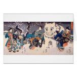 猫の雪だるま,国芳 Snowman of big Cat, Kuniyoshi, Ukiyo-e Greeting Card