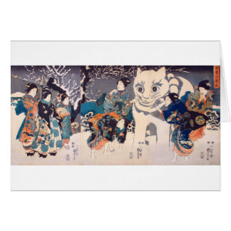 猫の雪だるま,国芳 Snowman of big Cat, Kuniyoshi, Ukiyo-e Card