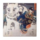 猫の雪だるま,国芳 Snowman of big Cat, Kuniyoshi, Ukiyo-e Ceramic Tile