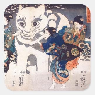 猫の雪だるま,国芳 Snowman of big Cat, Kuniyoshi, Ukiyo-e Square Sticker