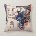 猫の雪だるま,国芳 Snowman of big Cat, Kuniyoshi, Ukiyo-e Throw Pillow