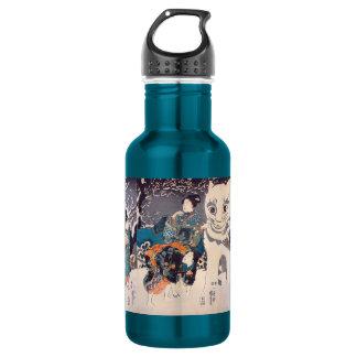 猫の雪だるま,国芳 Snowman of big Cat, Kuniyoshi, Ukiyo-e Water Bottle