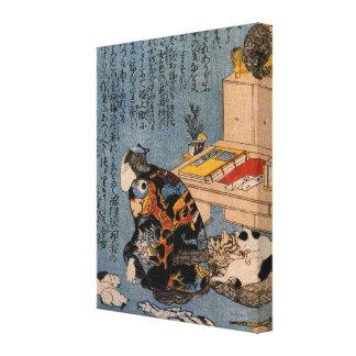 猫好きな絵師の自画像, 国芳 Painter who likes Cats, Kuniyoshi Gallery Wrapped Canvas