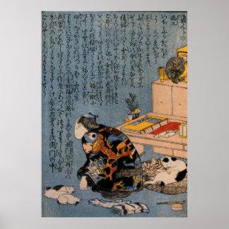 猫好きな絵師の自画像, pintor que tiene gusto de gatos, Kuniy Poster