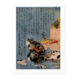 猫好きな絵師の自画像, pintor que tiene gusto de gatos, Kuniy Postal