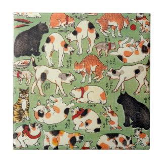 猫尽両めん合, 芳藤 Cats of The Edo era, Yoshifuji, Ukiyo-e Tile