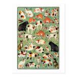 猫尽両めん合, gatos del 芳藤 de la era de Edo, Yoshifuji,  Postal