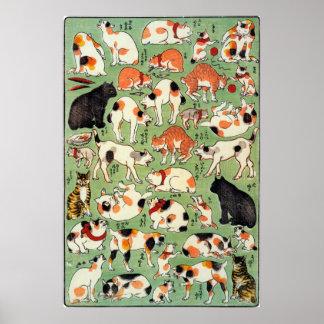 猫尽両めん合, gatos del 芳藤 de la era de Edo, Yoshifuji,  Póster