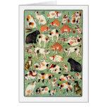 猫尽両めん合, gatos del 芳藤 de la era de Edo, Yoshifuji,  Felicitacion