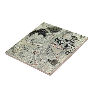 猫, 暁斎 Cats, Kyōsai, Ukiyo-e Tile