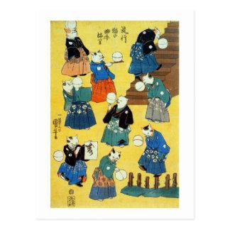 猫 曲芸師 acróbata de los gatos Kuniyoshi Ukiyo-e d Postal