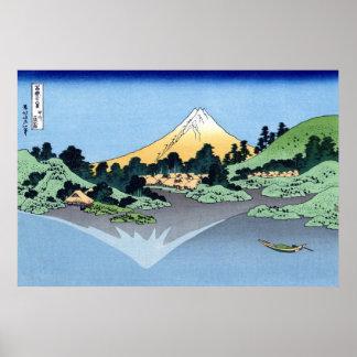 甲州三坂水面, opinión el monte Fuji del 北斎 de Misaka, Póster