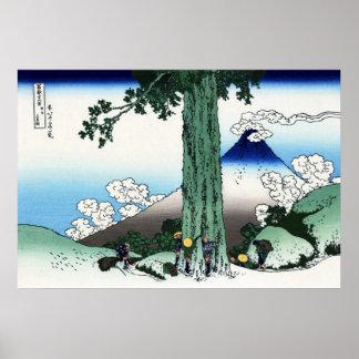 甲州三島越, 北斎 View Mt.Fuji from Mishima, Hokusai Poster