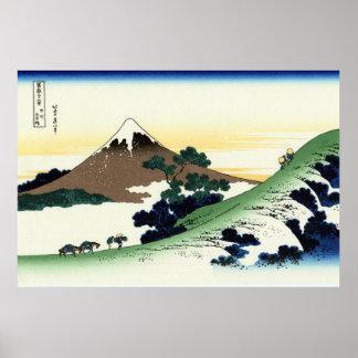 甲州犬目峠, opinión el monte Fuji del 北斎 de Inume, Hoku Póster