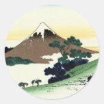 甲州犬目峠, opinión el monte Fuji del 北斎 de Inume, Pegatina Redonda