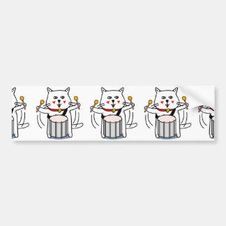 白猫のネコ先輩 パーカッション BUMPER STICKER