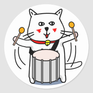 白猫のネコ先輩 パーカッション CLASSIC ROUND STICKER
