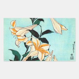 百合, 北斎 Lily, Hokusai, Ukiyo-e Rectangular Stickers