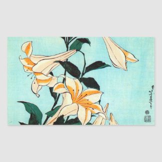 百合, lirio del 北斎, Hokusai, Ukiyo-e Rectangular Pegatina