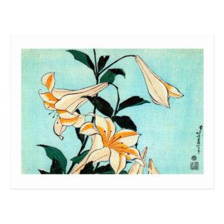 百合, lirio del 北斎, Hokusai, Ukiyo-e Postal