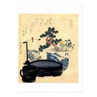 盆栽, 北斎 Bonsai, Hokusai, Ukiyo-e Postcard