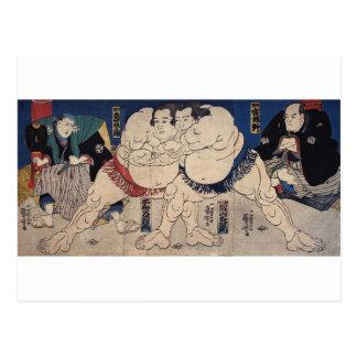 相撲, 国芳 Sumo Wrestling, Kuniyoshi, Ukiyo-e Postcard