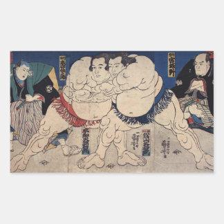 相撲, 国芳 Sumo Wrestling, Kuniyoshi, Ukiyo-e Rectangular Sticker