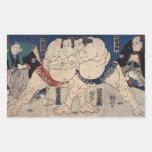 相撲, lucha de sumo del 国芳, Kuniyoshi, Ukiyo-e Rectangular Pegatinas
