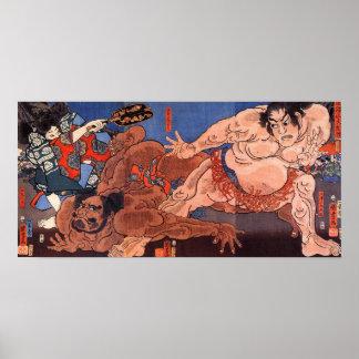 相撲, lucha de sumo del 歌川国芳, Kuniyoshi Poster