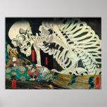 相馬の古内裏,国芳 Skeleton manipulated by Witch, Kuniyoshi Print