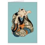 着物の猫, gato del kimono del 芳藤, Yoshifuji, Ukiyo-e Tarjetón