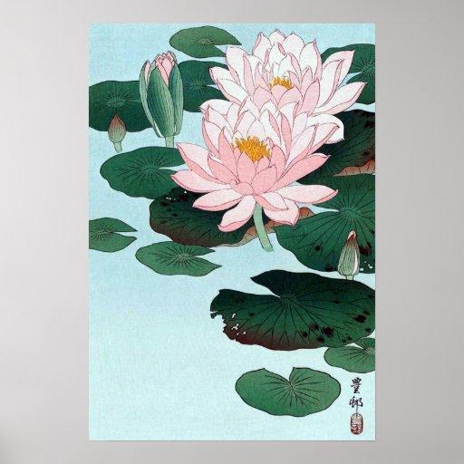 睡蓮, lirio de agua del 古邨, Koson, Ukiyo-e Poster