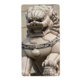 石獅 femenino chino del perro de Foo del león del Etiquetas De Envío