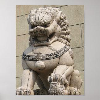 石獅 femenino chino del perro de Foo del león del gu Posters