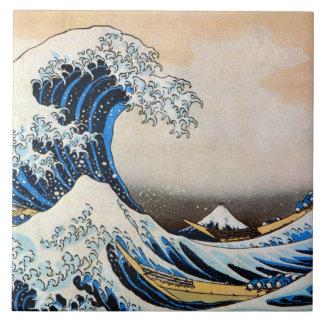 神奈川沖浪裏, 北斎 Great Wave, Hokusai, Ukiyo-e Ceramic Tile