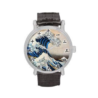 神奈川沖浪裏, 北斎 Great Wave, Hokusai, Ukiyo-e Wristwatches