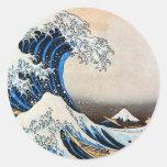 神奈川沖浪裏, gran onda del 北斎, Hokusai Etiqueta Redonda