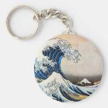 神奈川沖浪裏, gran onda del 北斎, Hokusai Llavero Redondo Tipo Pin