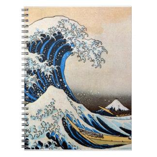 神奈川沖浪裏, gran onda del 北斎, Hokusai, Ukiyo-e Spiral Notebook