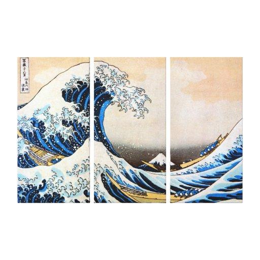 神奈川沖浪裏, gran onda del 北斎, Hokusai, Ukiyo-e Impresión En Lona Estirada