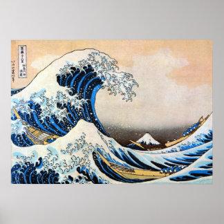 神奈川沖浪裏, gran onda del 北斎, Hokusai, Ukiyo-e Poster