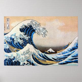 神奈川沖浪裏, gran onda del 北斎, Hokusai, Ukiyo-e Póster