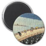 突然の雨, 広重 Sudden Rain, Hiroshige Refrigerator Magnet