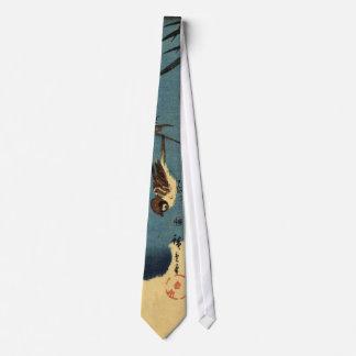 竹に雀, 広重 Bamboo and Sparrow, Hiroshige, Ukiyo-e Neck Tie
