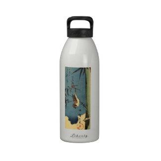 竹に雀, 広重 Bamboo and Sparrow, Hiroshige, Ukiyo-e Reusable Water Bottles