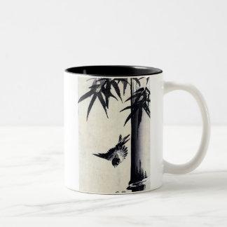 竹に雀, 歌川広重 Bamboo & Sparrow, Hiroshige, Sumi-e Two-Tone Coffee Mug